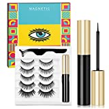 Magnetic Eyelashes with Eyeliner, 5 Pairs of Reusable Magnetic Lashes with Applicator, Waterproof and Natural Look Magnetic Eyelashes Kit (No Glue Needed)