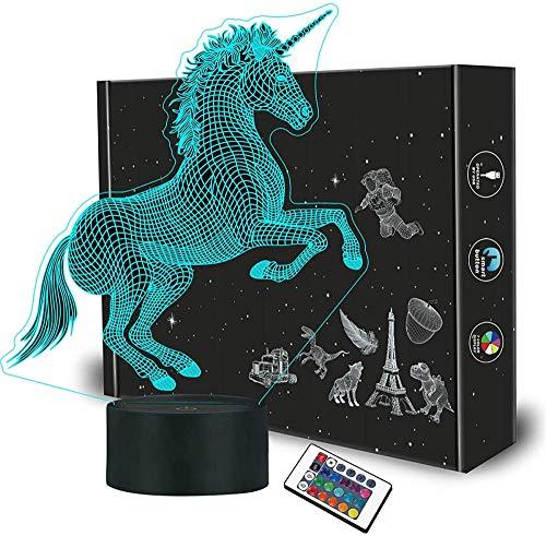 3D luz nocturna unicornio 3D ilusión noche lámpara 16 colores cambio automático interruptor táctil escritorio regalo cumpleaños con control remoto