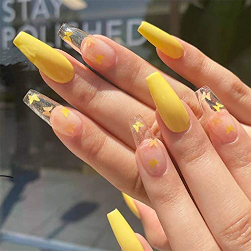 Yovic Long Ballerina Press on Nails Yellow Coffin Glossy Fake Nails Clear Butterfly False Nails for Women and Girls (24PCS) (Butterfly)