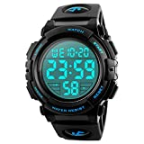 Men's Digital Sports Watch, 50M Waterproof Led Screen Large Face Backlight Luminous Military Watches, Casual Stopwatch Alarm Army Wrist Watch
