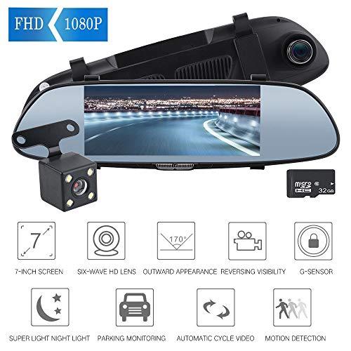 Dashcams Per Auto Anteriore E Posteriore, Da 7 Pollici 1080P Specchio Dash Cam Full HD, Streaming Media Car Dash Fotocamera Con 720P Visione Notturna Impermeabile Telecamera Posteriore