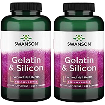 Swanson Gelatin and Silicon-Collagen Proteins Supporting Healthy Hair and Nails-Helps Deliver Vital Minerals for Strong Nails and Thick Hair-20mg Silicon and 1.08 Grams Gelatin- 200 Capsules  2 Pack