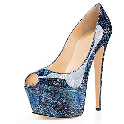 elashe Damen Pumps Plateau Stiletto Hoher Absatz Peeptoes Stiletto High Heels Sandalen Blume-Blau EU42