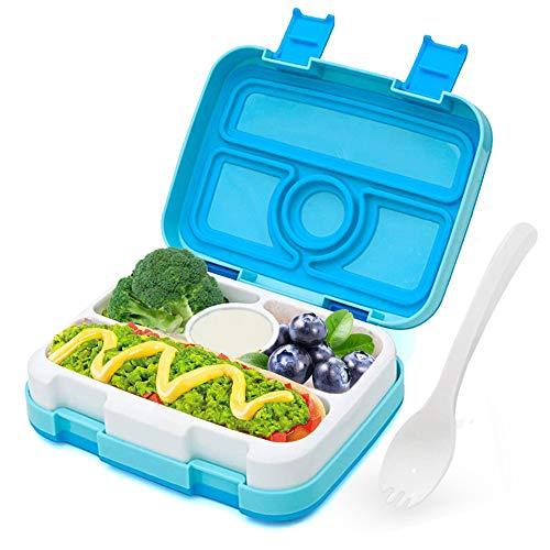 LAKIND Fambrera Infantil, Lunch Box, con 5 Compartimentos Fiambrera, Bento Box Sostenible, para Microondas y Lavavajillas. (4 Compartimentos Azules)