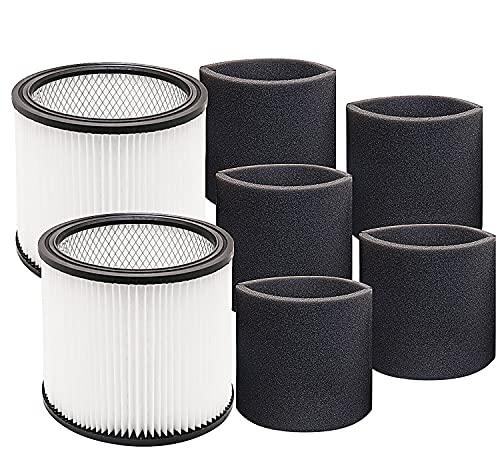 Repuesto de filtro de manga de espuma 90304 compatible con Shop-Vac 90304 90350 90333 reemplazo para la mayoría de aspiradoras húmedas/secas de 5 galones y superiores, en...