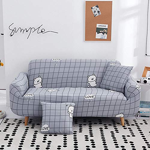 NLADTWLSD Funda de sofá de Alta Elasticidad, impresión Fundas para Sofa Antideslizante Cubierta para Sofa Protector para Sofás Lavable para el Salón (3 Asiento,Rejilla Gris)