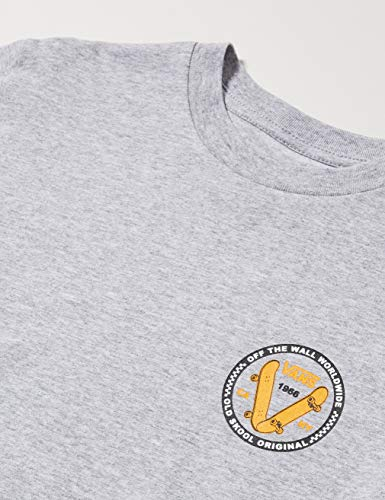 Vans Old Skool V SS Boys T-Shirt, Grigio (Athletic Heather ATH), Medium Bambino