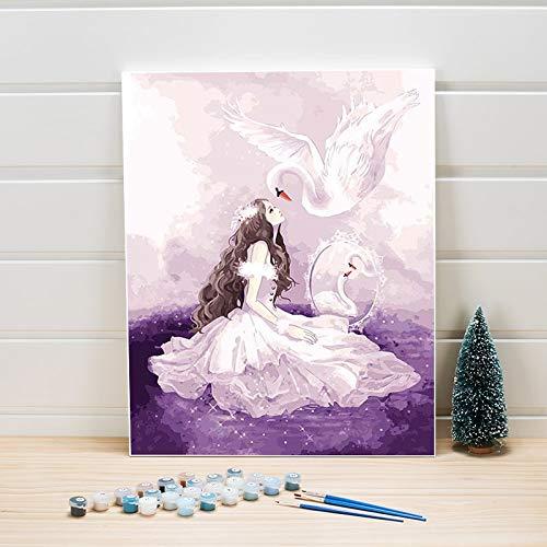 Canvas schilderij met cijfers, 40 x 50 cm, Swan Girl, acrylverf, aantal muren, afbeeldingen voor slaapkamerdecoratie, pakket voor volwassenen 40x50cm Frameless