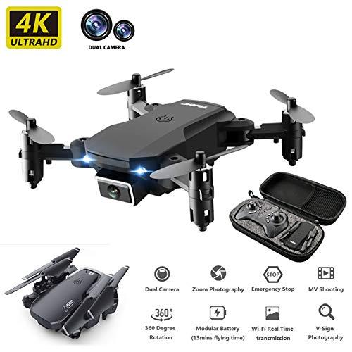 LYHLYH 4K Fernbedienung Drohne, Mini-Doppelkamera High-Definition-Luftaufnahmen vierachsigen Flugzeug Lange Lebensdauer Optical Flow Positionierung 360 ° Falzwalze