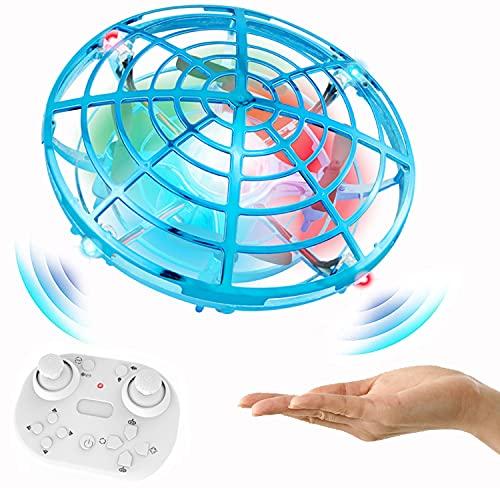 YGZN Mini Drone UFO para Niños y Adultos, RC Helicopteros Teledirigidos & Control de Mano de 360° Rotación con Luces LED,Juguete Volador Mini Dron Juguete para Niños 3 4 5 6 7 8 9 Años (BLUE)