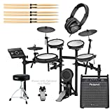 Roland TD-17KV V-Drums Electronic Drum Set - With Roland PM-100 80W Personal Drum Monitor, 3x Drum Sticks, Pair - H&A Double-Braced Drum Throne - H&A Closed-Back Studio Monitor Headphones