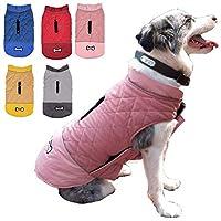ジッパークロージャーハーネス穴付き小中大犬のための犬のジャケットリバーシブル冬のジャケットペットコート防水反射犬のベストの暖かいペットの衣装服防風防寒着ペットアパレル (2XL,C)