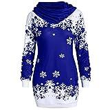 YWLINK Damen Mode Weihnachten Schneeflocke Bedruckte Kapuzensweatshirt Bluse Pulli Pullover Rollkragen Frauen Oberteile(L,Blau)