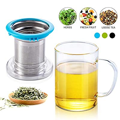Tomotime Clear Tea Mug with Infuser and Lid - 13.5 -Ounce Blue