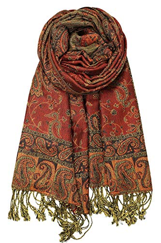 """Achillea Soft Silky Reversible Paisley Pashmina Shawl Wrap Scarf w/Fringes 80"""" x 28"""" (Rust Red)"""