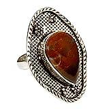 GoyalCrafts GRM48 - Anello con pietra preziosa in agata rossa naturale color muschio