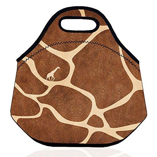 Zmvise Girafe Sac à déjeuner pique-nique Tote Box Portable extérieur en néoprène Cooler thermique étanche à nourriture isotherme enfant Main Coque