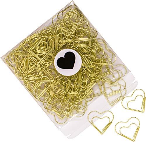 100{6b2665568c6c09341b05acc22cb407d1e963347bb9741f0feef521d8144994b0} Mosel Büroklammern Gold, 100 Stück, in Herzform (3 x 2,7 cm), edle Klammern aus Metall, modernes Accessoire fürs Büro/Homeoffice, elegante Deko zu besonderen Anlässen