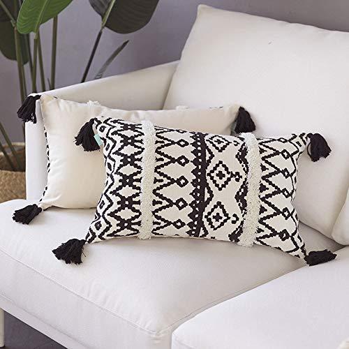MOCOFO Funda de cojín de 30x50 cm, Color Crema, Blanco y Gris, con Flecos, para sofá o sofá, Bordado Bohemio, Solo Funda Negra y Blanca de 30x50cm