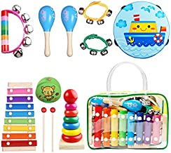 Childom Kids Musical Instruments Musical Instruments Wood Xylophone for Kids Children, Child Wooden Music Shakers Percussion Instruments Tambourine Birthday Gifts Present with Carrying Bag