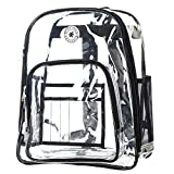Heavy Duty Clear Backpack Quality See Through Student Bookbag Durable PVC Travel Transparent Workbag Stadium Security Bag | Black