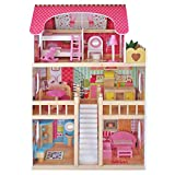 Kids House Wooden Emily Dollhouse with 17 pcs of Furniture