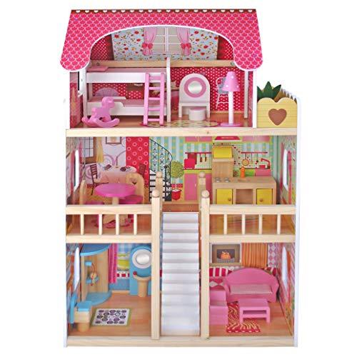 Kids House Casa de Muñecas de Madera con Muebles -Emily- Casita de Juguete para Niñas