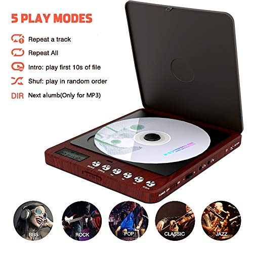 Portable CD Player with Earphones, Super Anti-Skip/Shockproof Upgraded disc Reader, Monodeal CW605 Rechargeable Personal Compact Design CD Player with LCD Disply for Adults Kids and Seniors