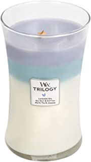 WoodWick Calming Retreat Trilogy 3-in-1 Hourglass Jar Scented Candle, Large 22 oz.