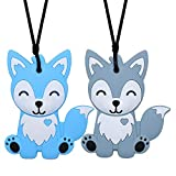 Sensory Chew Necklace for Kids, Boys, and Girls - 2 Pack Fox Silicone Baby Teether Toys for Teething, Autism, Biting, ADHD, SPD, Chewy Oral Motor Chewing Toy Jewelry for Adults