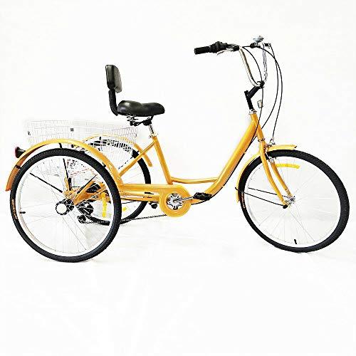 """OUBAYLEW Triciclo Adulto con Cesta 24"""" 3Ruedas 6velocidades Ajustable + luz Principal (Amarillo)"""