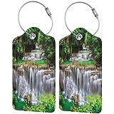 ZOANEN Etiquetas para Equipaje,Impresionante Vista de la Cascada en Kanjanaburi Stream Crossing Forest,2 Piezas Etiquetas de Equipaje de Viaje de la Maleta para Maletas