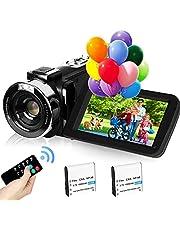 """2,7K Videocamera Camcorder GDV1302 Oplaadbare vlogcamera 18x digitale zoom FHD 42MP 3"""" LCD-camcorder met draaibaar scherm en 2 batterijen"""