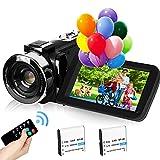2,7K Cámara de Video Videocámara GDV1302 Cámara de Vlogs Recargable Zoom Digital 18X FHD 42MP Videocámara de Pantalla LCD giratoria de 3' con 2 Baterías(Negro)