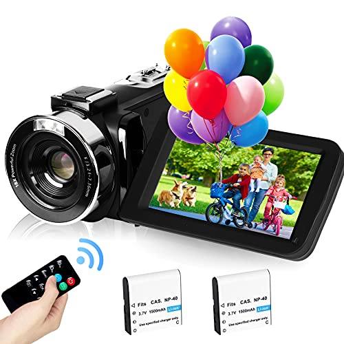 """2,7K Cámara de Video Videocámara GDV1302 Cámara de Vlogs Recargable Zoom Digital 18X FHD 42MP Videocámara de Pantalla LCD giratoria de 3"""" con 2 Baterías(Negro)"""