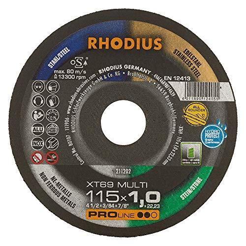 RHODIUS extra dünne Trennscheibe Metall Stein Kunststoff XT69 MULTI Box Made in Germany Ø 115 mm Allroundtrennscheibe INOX 10 Stück