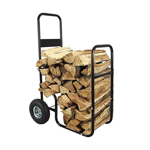 LEADALLWAY Firewood Cart Wood Hauler Fireplace Log Carrier Mover|Outdoor Indoor Heavy Duty Steel Firewood Storage Carrier Cart With 2 Pheumatic Wheels, Labour-Saving Wood Stove Accessories Tools Black