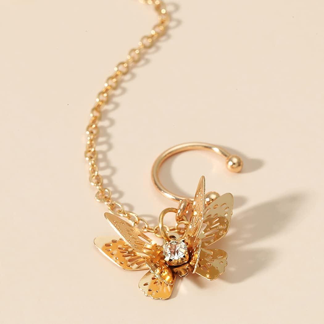 Licogel Warp Personalized Teens Jewelry Club Cuff Tassel Earrings Butterfly Metal Elegant Decorative Personalized Fashion