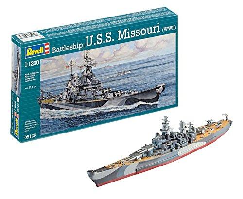 Revell- U.S.S. Missouri WWII Barco USS Escala 1/1200-Revell RE05128, Multicolor, 22,5cm de largo (05128)
