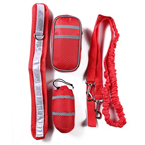 Adjustable Hands Free Leash Wide Padded Belt with Reflective Element Quality Dual Use Leash with Practical Waist Bag Best Dog Leash Set for Walking Running and Hiking Red