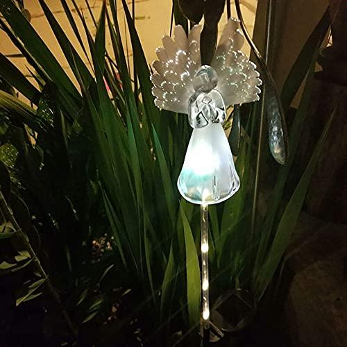 Luces de ángel solar graves jardín al aire libre Color decorativo Cambio de color Luz de estaca LED con poder de fibra óptica para ser querido IP65 Yarda Patio Césped Grave Cementerio Decoraciones