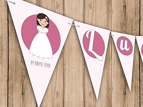 Guirnalda Mi Primera Comunión niña. Guirnalda decorativa. Banderines para fiestas.