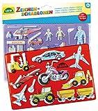 Lena 65773 - Zeichenschablonen Set Fahrzeuge und Menschen, mit 2 Schablonen mit Fahrzeug- und...