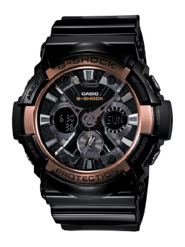 Casio Men's XL Series G-Shock Quartz 200M WR Shock Resistant Resin Color: White with Rose Gold Accents (Model GA-200RG-1ACR)
