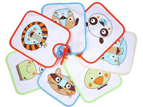 Ti TIN - Pack de 7 Baberos Impermeables para Bebés 73% Algodón - 27% Poliéster con Forro Vinilo | Lote de 7 Baberos con Cintas para Bebés de 6 a 18 Meses