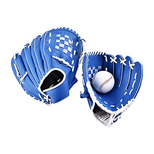 OTraki 野球グローブ 軟式 キャッチボール 親子セット 10.5+11.5インチ 右投げ キャッチャーミット ボール付属 右利き 親子グローブセット 子供 少年 大人 内野手 練習用 野球グラブ 野球ミット 一般 オールラウンド 衝撃吸収パッド内蔵 野球 ベースボール 初心者向け ブルー