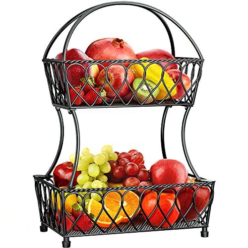 Fruit Basket, STEELGEAR 2-Tier Fruit Basket Bowl Vegetable Organizer for Kitchen, Detachable Vegetable Storage Fruit Stand Produce Holder for Counter Dining Room Countertop, Vintage Black