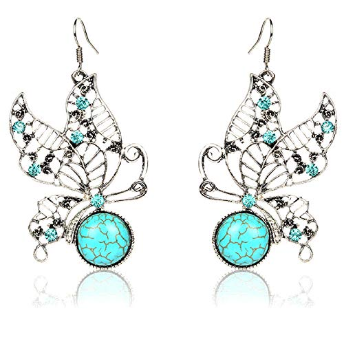 New hollow retro earrings butterfly with diamond turquoise earrings