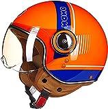 AZBYC Cascos De Motocicleta para Hombres y Mujeres, Cascos De Ciclomotor con Viseras.El Cabezal Anticolisión Protege La Seguridad Vial De Los Usuarios (L)
