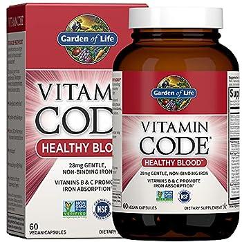 Garden of Life Vitamin Code Iron Supplement Healthy Blood - 60 Vegan Capsules 28g Iron Vitamins B C Trace Minerals Fruit Veggies & Probiotics Iron Supplements for Women Energy & Anemia Support